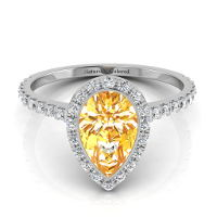 Bezel Setting Halo Pear Shape Orange Diamond Engagement Ring