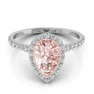 Bezel Setting Halo Pear Shape Pink Diamond Engagement Ring