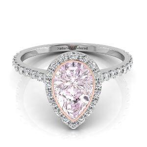 Bezel Setting Halo Pear Shape Purple Diamond Engagement Ring