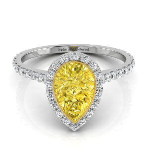 Bezel Setting Halo Pear Shape Yellow Diamond Engagement Ring