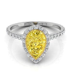 Bezel Setting Halo Pear Shape Yellow Diamond Engagement Ring