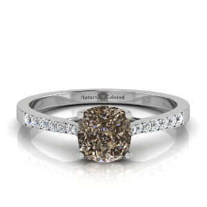 Tapered Channel Setting Solitaire Cushion Cut Brown Diamond Engagement Ring