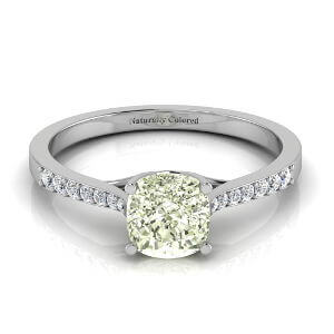 Tapered Channel Setting Solitaire Cushion Cut Green Diamond Engagement Ring
