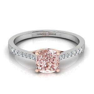 Tapered Channel Setting Solitaire Cushion Cut Pink Diamond Engagement Ring