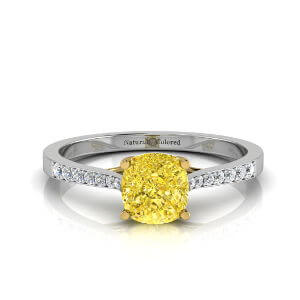 Tapered Channel Setting Solitaire Cushion Cut Yellow Diamond Engagement Ring
