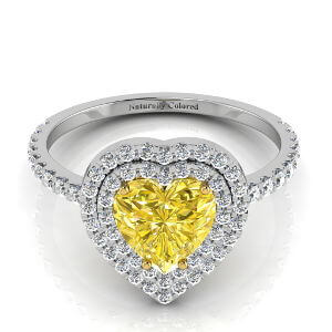 Double Halo Heart Shaped Yellow Diamond Engagement Ring