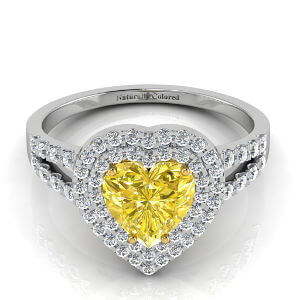 Double Halo Pear Shape Yellow Diamond Engagement Ring With Split Shank