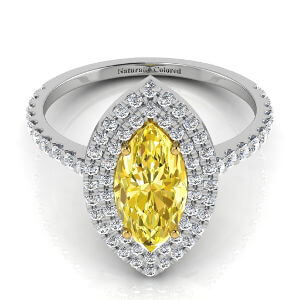 Double Halo Marquise Yellow Diamond Engagement Ring