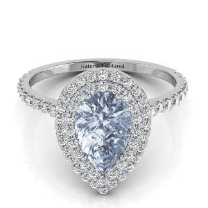 Double Halo Pear Shape Blue Diamond Engagement Ring