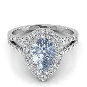 Double Halo Pear Shape Blue Diamond Engagement Ring With Split Shank