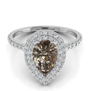 Double Halo Pear Shape Brown Diamond Engagement Ring