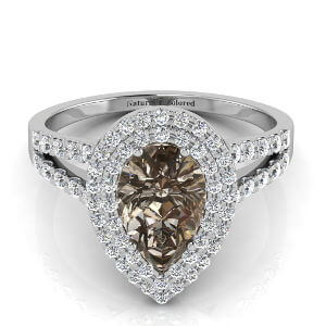 Double Halo Pear Shape Brown Diamond Engagement Ring With Split Shank