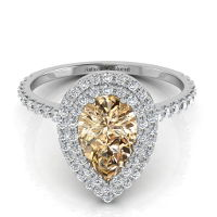 Double Halo Pear Shape Champagne Diamond Engagement Ring