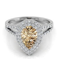 Double Halo Pear Shape Champagne Diamond Engagement Ring With Split Shank