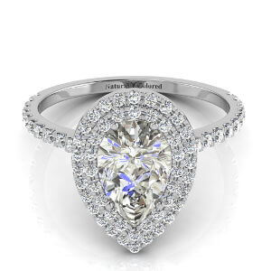 Double Halo Pear Shape Gray Diamond Engagement Ring