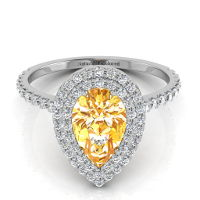 Double Halo Pear Shape Orange Diamond Engagement Ring
