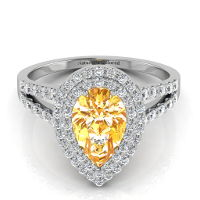 Double Halo Pear Shape Orange Diamond Engagement Ring With Split Shank