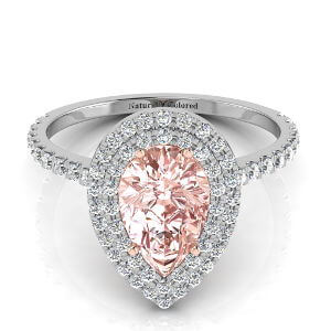 Double Halo Pear Shape Pink Diamond Engagement Ring