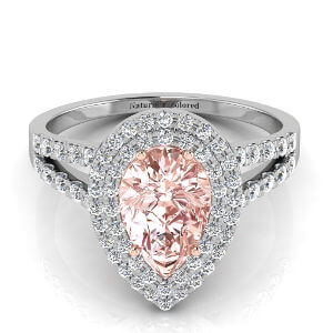 Double Halo Pear Shape Pink Diamond Engagement Ring With Split Shank