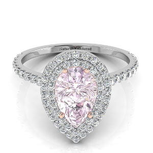 Double Halo Pear Shape Purple Diamond Engagement Ring