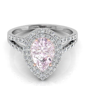 Double Halo Pear Shape Purple Diamond Engagement Ring With Split Shank