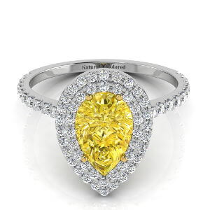 Double Halo Pear Shape Yellow Diamond Engagement Ring