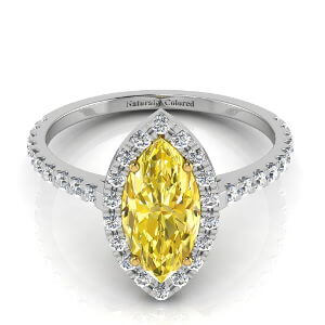 Halo Marquse Yellow Diamond Engagement Ring