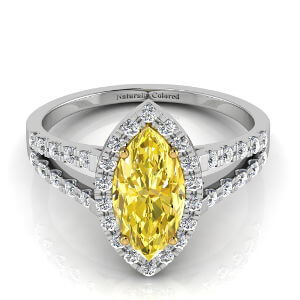 Halo Marquise Cut Yellow Diamond Engagement Ring with Split Shank