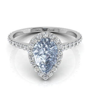 Halo Pear Shape Blue Diamond Engagement Ring