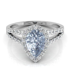 Halo Pear Shape Blue Diamond Engagement Ring with Split Shank