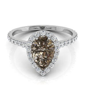 Halo Pear Shape Brown Diamond Engagement Ring