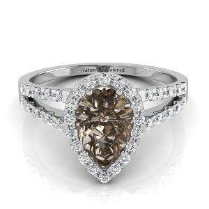 Halo Pear Shape Brown Diamond Engagement Ring with Split Shank