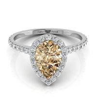 Halo Pear Shape Champagne Diamond Engagement Ring