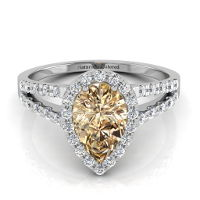 Halo Pear Shape Champagne Diamond Engagement Ring with Split Shank