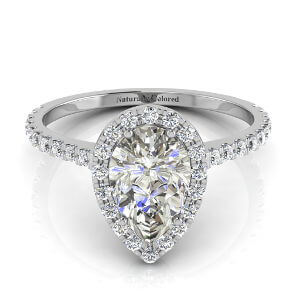 Halo Pear Shape Gray Diamond Engagement Ring
