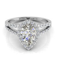 Halo Pear Shape Gray Diamond Engagement Ring with Split Shank