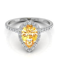 Halo Pear Shape Orange Diamond Engagement Ring