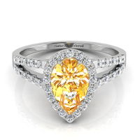 Halo Pear Shape Orange Diamond Engagement Ring with Split Shank