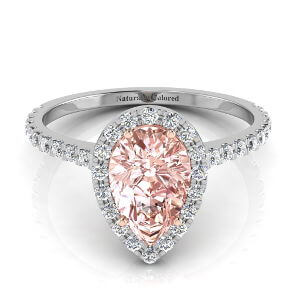 Halo Pear Shape Pink Diamond Engagement Ring