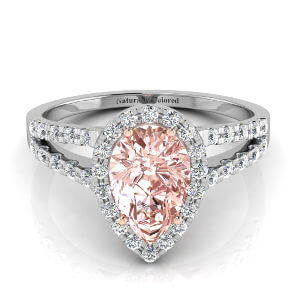Halo Pear Shape Pink Diamond Engagement Ring with Split Shank