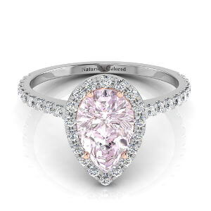 Halo Pear Shape Purple Diamond Engagement Ring