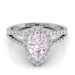 Halo Pear Shape Purple Diamond Engagement Ring with Split Shank