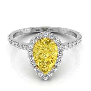 Halo Pear Shape Yellow Diamond Engagement Ring