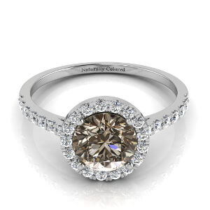 Halo Round Brown Diamond Engagement Ring