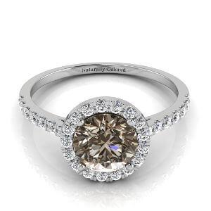 Halo Round Brown Diamond Engagement Ring
