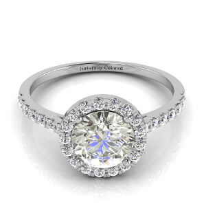 Halo Round Gray Diamond Engagement Ring