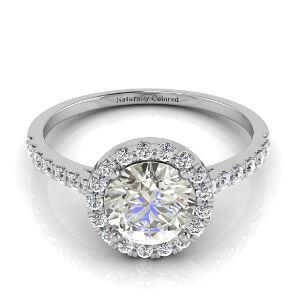 Halo Round Gray Diamond Engagement Ring