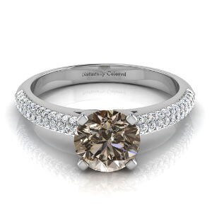Micro Pave Round Brown Diamond Engagement Ring
