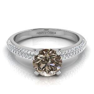 Micro Pave Round Brown Diamond Engagement Ring