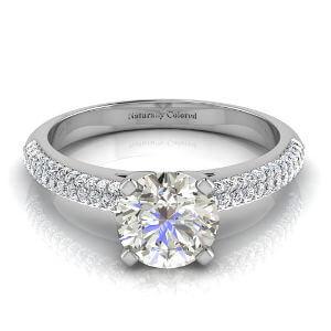 Micro Pave Round Gray Diamond Engagement Ring